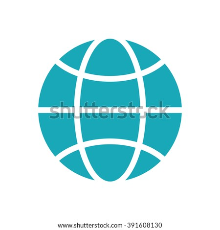 Blue flat globe icon isolated on white background. Global design concept. Symbol for web and print. Graphic design element. Earth logo. Pictogram.