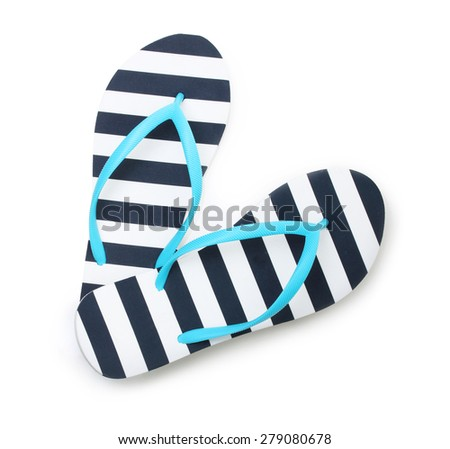 Blue flip flop beach shoes top view isolated on white background. - stock photo