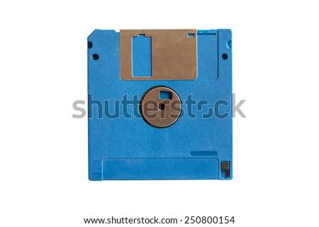 Blue floppy disk isolated on white background - stock photo