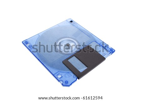 Blue floppy disk magnetic computer data storage support isolated over white background - stock photo