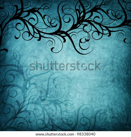 blue floral abstract texture - stock photo