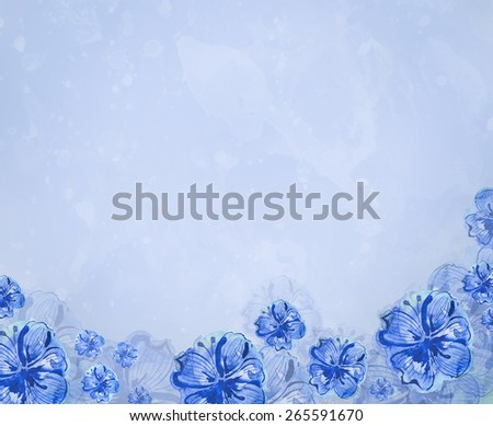 blue floral background - stock photo