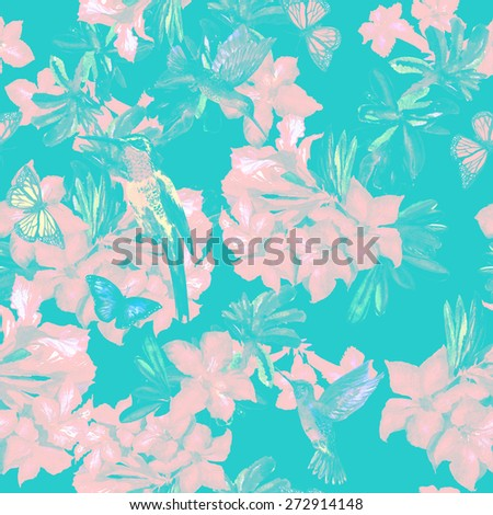 blue floral seamless pattern of red flowers on a blue background. Hummingbird on a branch and flying butterflies, blossom pink flowers Rhododendron - stock photo