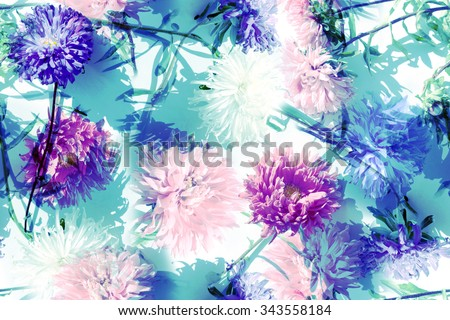 Blue floral vintage pattern. Realistic blossoming astra on blue background. Art effect retro and vintage design with flowers and plants. Soft focus effect. - stock photo