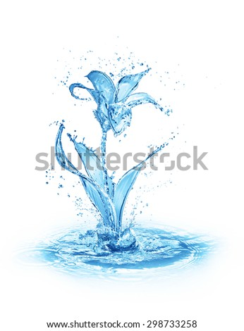 blue flower made of water
