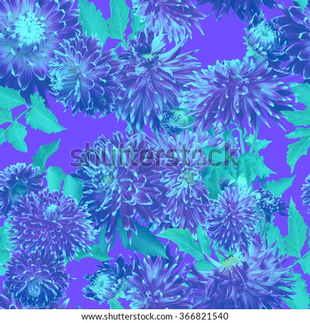 Blue flower pattern seamless with beautiful dahlia. Realistic photo collage with soft focus and vintage effect style pictures - stock photo