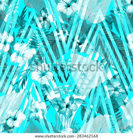 Blue flowers, and blue plants, and leaves on geometric ornament pattern. Exotic flowers hibiscus on a blue zig zag ornament, Plants and flowers of jungle paradise - stock photo