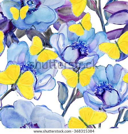 Blue flowers and yellow  butterflies. - stock photo