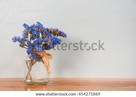 Blue Flowers Glass Vase On Wood Stock Photo Royalty Free 454271869