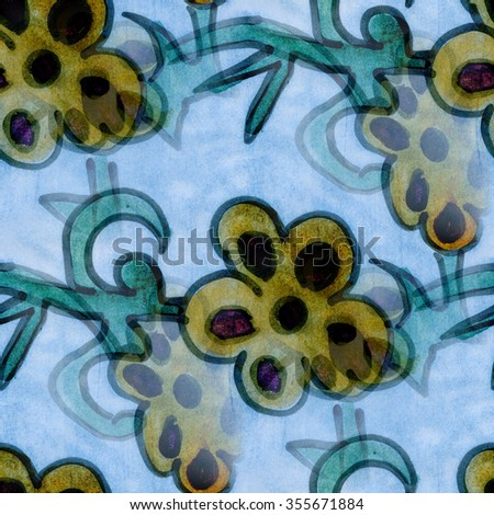 Blue  flowers ornament seamless texture wallpaper watercolor