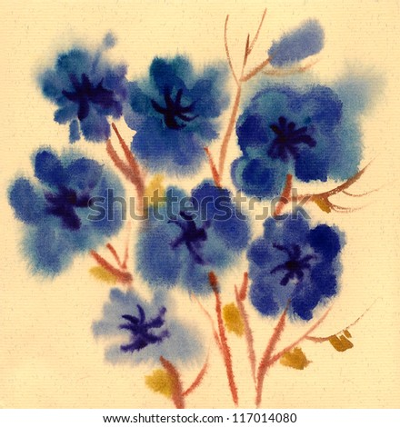 Blue Flowers painted in watercolor  isolated on a white background - stock photo
