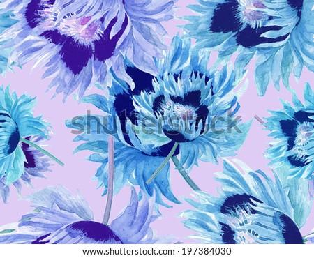 Blue Flowers Seamless Pattern - stock photo