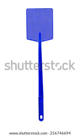 Blue Flyswatter isolated on white background - stock photo