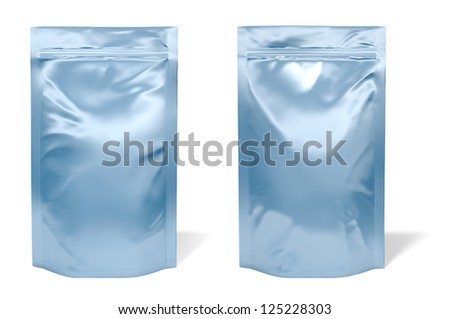Blue foil bag package isolated on white background