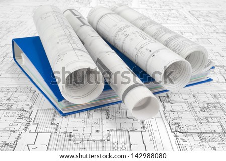 Blue folder document and project drawings - stock photo