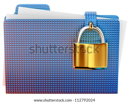 blue folder with golden hinged lock stores important information - stock photo
