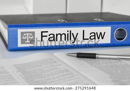 Blue folder with the label Family Law - stock photo