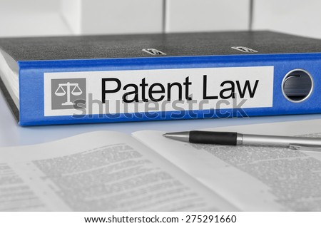 Blue folder with the label Patent Law