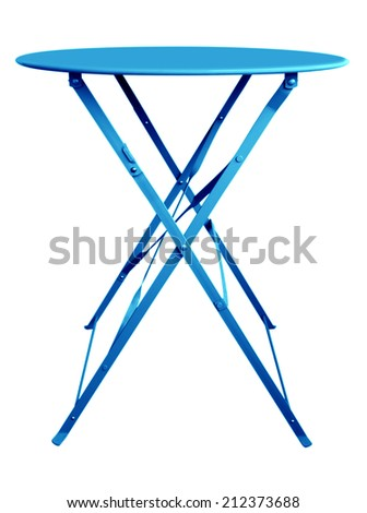 Blue Folding Table isolated on white, with clipping path.