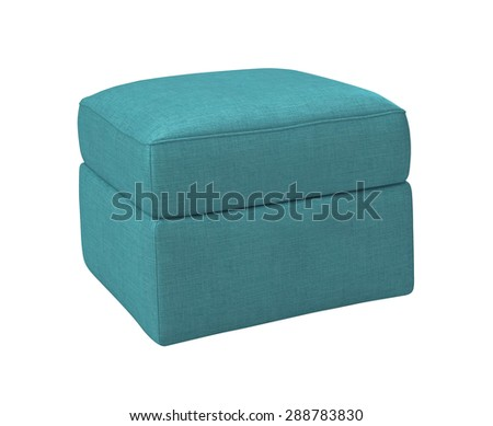 blue footstool isolated on white - stock photo