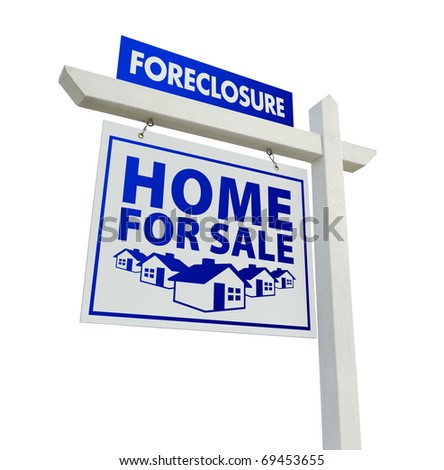 Blue Foreclosure Home For Sale Real Estate Sign Isolated on a White Background. - stock photo