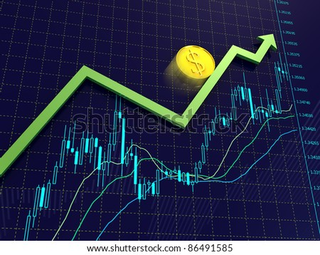 Blue Forex charts with green growing arrow and golden dollar coin