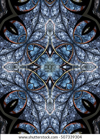 Blue fractal mandala with flower in the center, digital artwork for creative graphic design