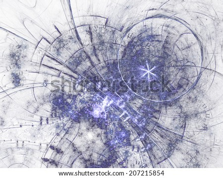 Blue fractal pattern, digital artwork for creative graphic design