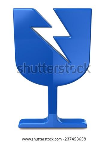 Blue fragile sign - stock photo