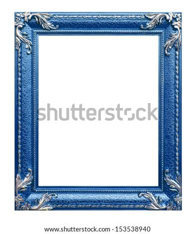 blue frame on the white background - stock photo