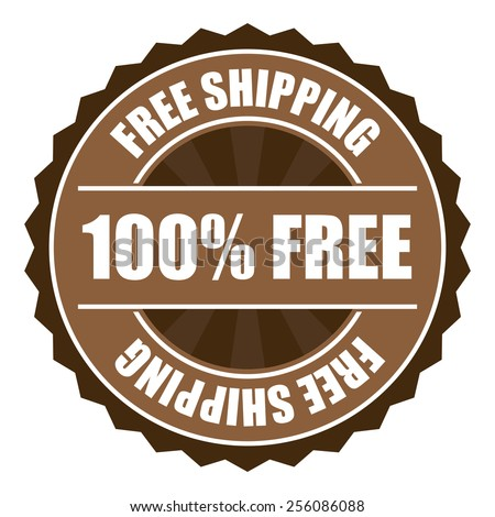 blue free shipping 100% free icon, tag, label, badge, sign, sticker isolated on white  - stock photo