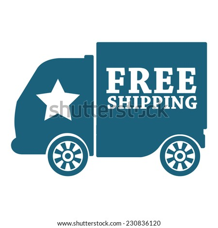 Blue free shipping icon, tag, label, badge, sign, sticker isolated on white  - stock photo