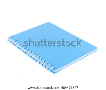 blue front cover notebook isolated on white background