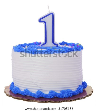 Blue Frosted 1st Year Birthday Cake on Isolated Background - stock photo