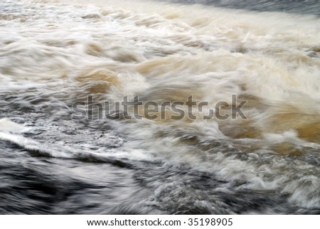 blue frothing water - stock photo