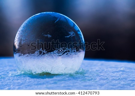 Blue frozen bubble.