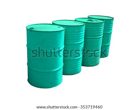 Blue fuel tanks stacked  isolated on white background. Clipping path.