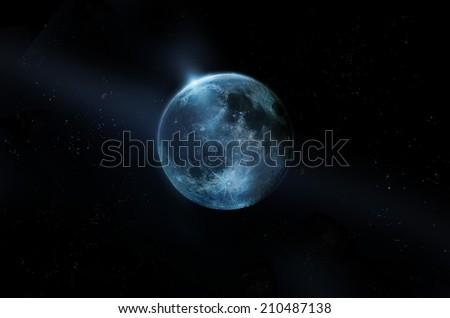 Blue full moon on all stars at night - stock photo