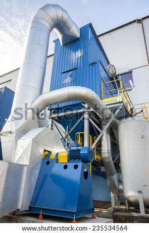 Blue fumes ventilator - polish coal power station. - stock photo