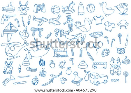 Blue Funny baby toys set. art doodle collection of hand drawn icons for baby shower or scrapbook