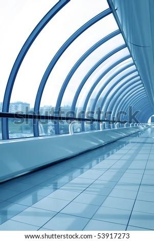 blue futuristic corridor indoor airport - stock photo