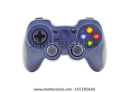 Blue game controller isolated on a white background - stock photo