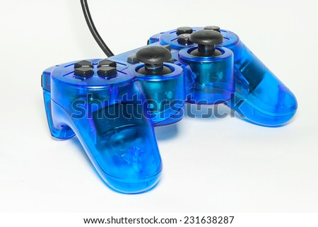 Blue game controller isolated on a white background.
