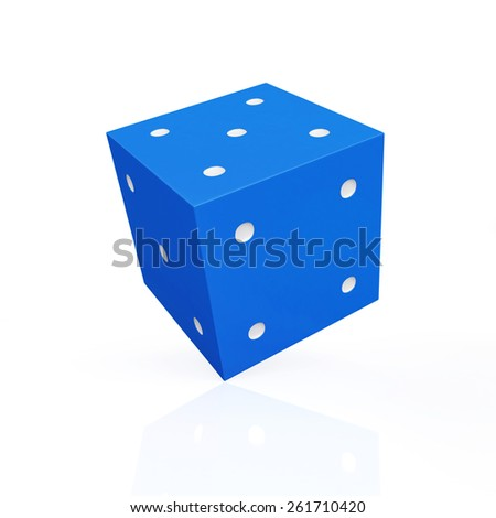 Blue game dice with white dots isolated on white background - stock photo