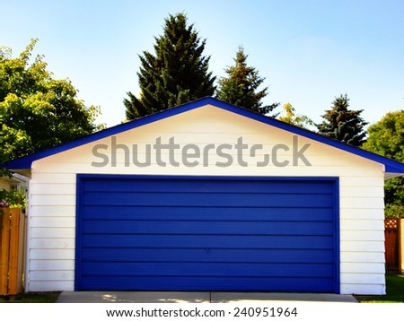 Blue Garage Door - stock photo