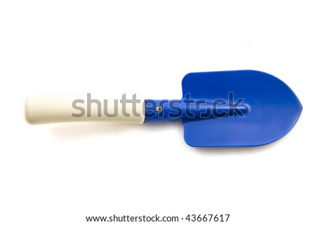 Blue garden spade isolated on a white background - stock photo