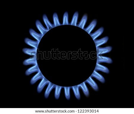 blue gas flame - stock photo