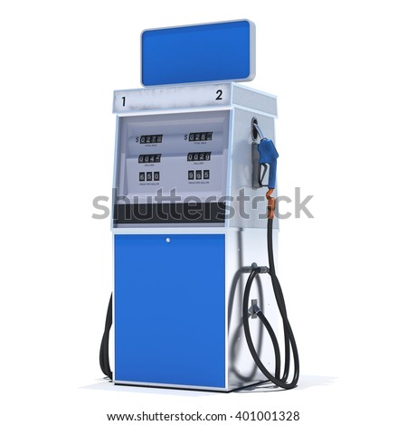 Blue gas pump on white background. 3d render. Isolated - stock photo