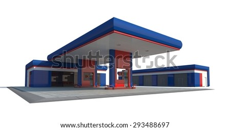 Blue gas station isolated on white background. 3D render.