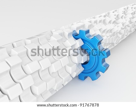 Blue gear different from the others - stock photo